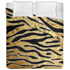 Golden Vector Embossed Golden Black Zebra Stripes Duvet Cover Double Side (california King Size)
