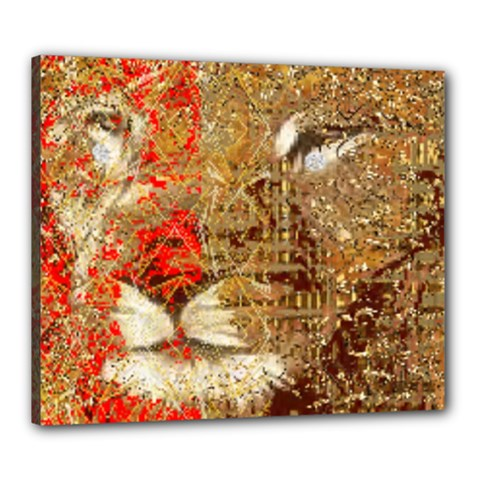 Artistic Lion Red And Gold By Kiekie Strickland  Canvas 24  X 20