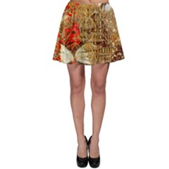 Artistic Lion Red And Gold By Kiekie Strickland  Skater Skirt