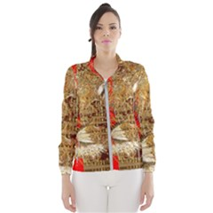 Artistic Lion Red And Gold By Kiekie Strickland  Windbreaker (women)