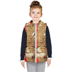 Artistic Lion Red And Gold By Kiekie Strickland  Kid s Hooded Puffer Vest