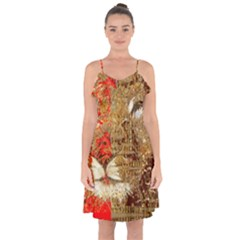 Artistic Lion Red And Gold By Kiekie Strickland  Ruffle Detail Chiffon Dress