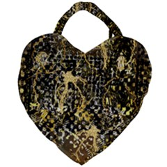 Retro Design In Gold And Silver Created By Kiekie Strickland Flipstylezdesigns Giant Heart Shaped Tote by flipstylezdes