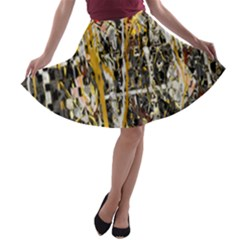 Retro Orange Black And White Liquid Gold  By Kiekie Strickland A Line Skater Skirt