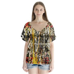 Retro Orange Black And White Liquid Gold  By Kiekie Strickland V Neck Flutter Sleeve Top