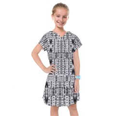 Creative Retro Black And White Abstract Vector Designs By Kiekie Strickland Kids  Drop Waist Dress