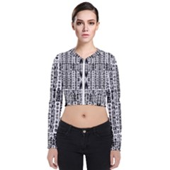 Creative Retro Black And White Abstract Vector Designs By Kiekie Strickland Zip Up Bomber Jacket