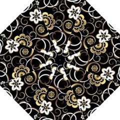 Beautiful Gold And White Flowers On Black Straight Umbrellas