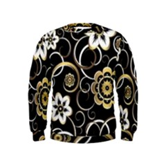 Beautiful Gold And White Flowers On Black Kids  Sweatshirt