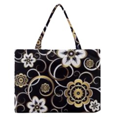Beautiful Gold And White Flowers On Black Zipper Medium Tote Bag
