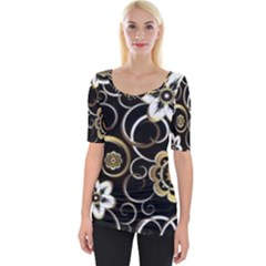 Beautiful Gold And White Flowers On Black Wide Neckline Tee