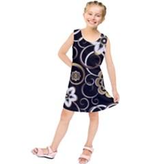 Beautiful Gold And White Flowers On Black Kids  Tunic Dress
