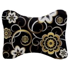 Beautiful Gold And White Flowers On Black Velour Seat Head Rest Cushion