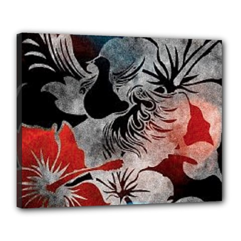 Beautiful Hibiscus Flower Design  Canvas 20  X 16