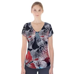 Beautiful Hibiscus Flower Design  Short Sleeve Front Detail Top