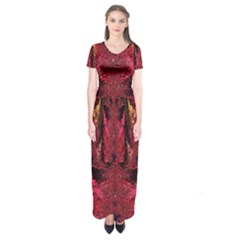 Gorgeous Burgundy Native Watercolors By Kiekie Strickland Short Sleeve Maxi Dress