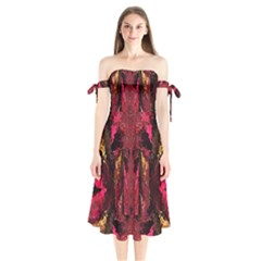 Gorgeous Burgundy Native Watercolors By Kiekie Strickland Shoulder Tie Bardot Midi Dress