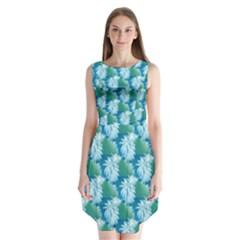 Palm Trees Tropical Beach Coastal Summer Style Small Print Sleeveless Chiffon Dress