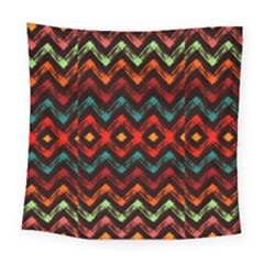 Seamless Native Zigzags By Flipstylez Designs Square Tapestry (large)