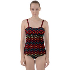 Seamless Native Zigzags By Flipstylez Designs Twist Front Tankini Set