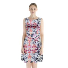 Elegant Japanese Inspired Floral Pattern  Sleeveless Waist Tie Chiffon Dress