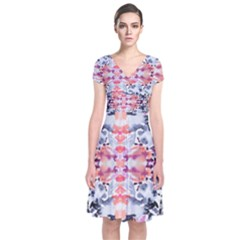 Elegant Japanese Inspired Floral Pattern  Short Sleeve Front Wrap Dress