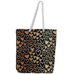 Cluster Of Tiny Gold Hearts Seamless Vector Design By Flipstylez Designs Full Print Rope Handle Tote (large)