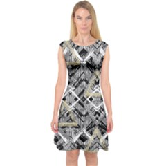 Retro Black And White Gold Design By Kiekiestrickland Capsleeve Midi Dress