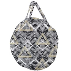 Retro Black And White Gold Design By Kiekiestrickland Giant Round Zipper Tote