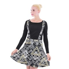Retro Black And White Gold Design By Kiekiestrickland Suspender Skater Skirt