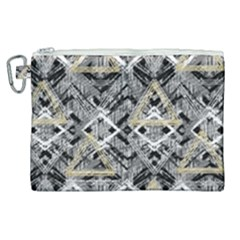 Retro Black And White Gold Design By Kiekiestrickland Canvas Cosmetic Bag (xl) by flipstylezdes