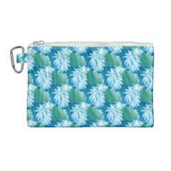 Palm Trees Tropical Beach Coastal Summer Style Small Print Canvas Cosmetic Bag (large)