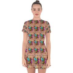 1 Drop Hem Mini Chiffon Dress