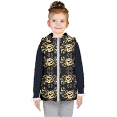 Golden Flowers On Black With Tiny Gold Dragons Created By Kiekie Strickland Kid s Hooded Puffer Vest