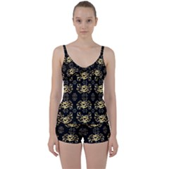 Golden Flowers On Black With Tiny Gold Dragons Created By Kiekie Strickland Tie Front Two Piece Tankini
