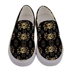 Golden Flowers On Black With Tiny Gold Dragons Created By Kiekie Strickland Women s Canvas Slip Ons