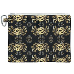 Golden Flowers On Black With Tiny Gold Dragons Created By Kiekie Strickland Canvas Cosmetic Bag (xxl)