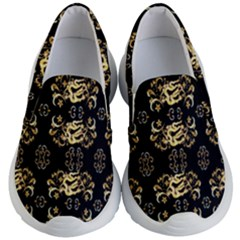 Golden Flowers On Black With Tiny Gold Dragons Created By Kiekie Strickland Kid s Lightweight Slip Ons