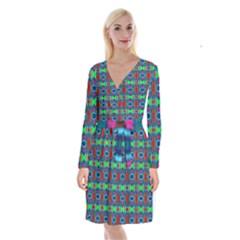D 7 Long Sleeve Velvet Front Wrap Dress