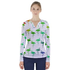 Flamingo Pattern Rainbow Colors V Neck Long Sleeve Top