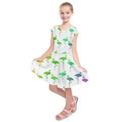 Flamingo Pattern Rainbow Colors Kids  Short Sleeve Dress