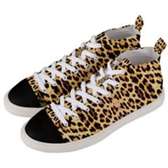 Leopard Skin Men s Mid Top Canvas Sneakers by ArtworkByPatrick1