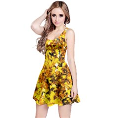 Birch Tree Yellow Leaves Reversible Sleeveless Dress
