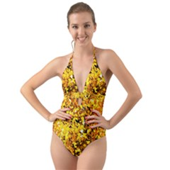 Birch Tree Yellow Leaves Halter Cut Out One Piece Swimsuit