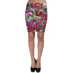 Colorful Petunia Flowers Bodycon Skirt by FunnyCow