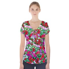 Colorful Petunia Flowers Short Sleeve Front Detail Top