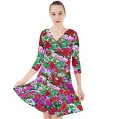 Colorful Petunia Flowers Quarter Sleeve Front Wrap Dress