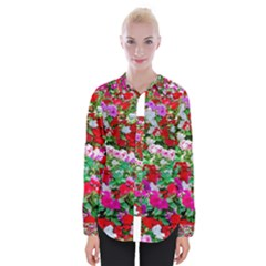 Colorful Petunia Flowers Womens Long Sleeve Shirt