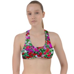 Colorful Petunia Flowers Criss Cross Racerback Sports Bra