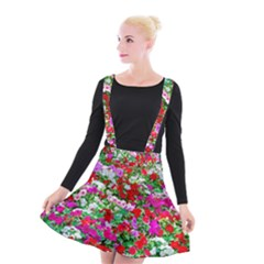 Colorful Petunia Flowers Suspender Skater Skirt